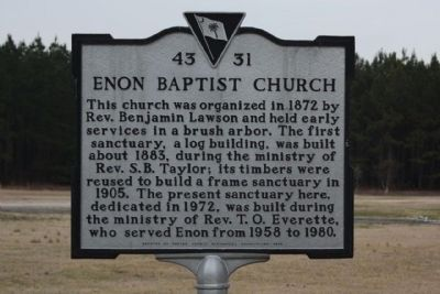 Enon Baptist Church Marker image. Click for full size.