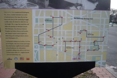 Market Space: Yesterday's Town Square Marker - map of Downtown Heritage Trail on reverse. image. Click for full size.