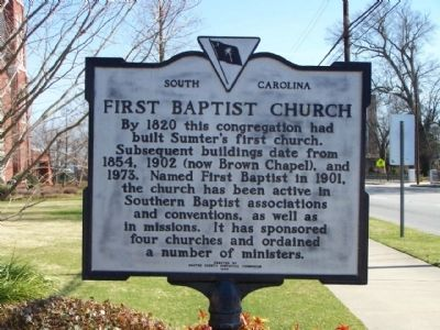 First Baptist Church Marker, reverse side image. Click for full size.