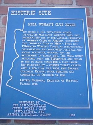 Mesa Woman's Club House Marker image. Click for full size.