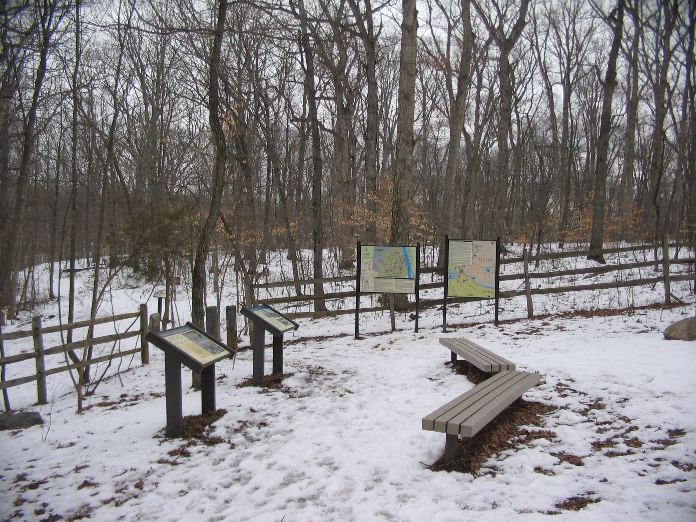 Markers at the Trailhead for Balls Bluff