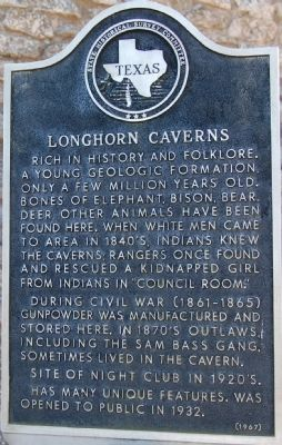Longhorn Caverns Marker image. Click for full size.