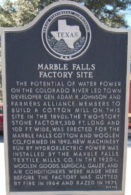 Marble Falls Factory Site Marker image. Click for full size.