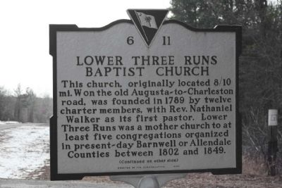 Lower Three Runs Baptist Church Marker image. Click for full size.