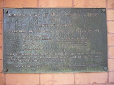 Rehabilitation of the Carnegie Library Marker image. Click for full size.