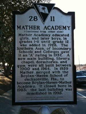 Mather Academy Marker (reverse) image. Click for full size.