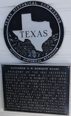 Governor O. M. Roberts' House Marker image. Click for full size.
