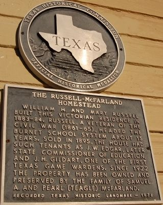 The Russell-McFarland Homestead Marker image. Click for full size.