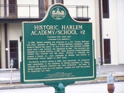 Historic Harlem Academy School #2 Marker, reverse side Photo, Click for full size