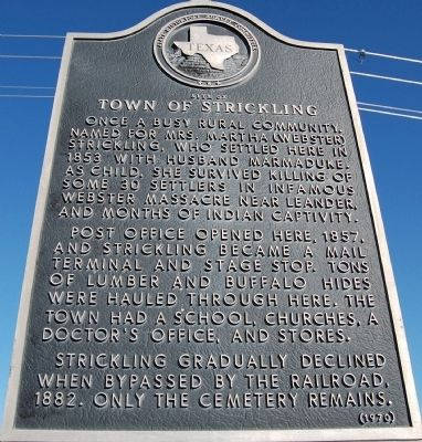 Site of Town of Strickling Marker image. Click for full size.