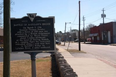 Battle of Ratcliff's Bridge Marker, looking southeast along East Church Street image. Click for full size.