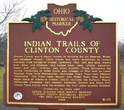 Indian Trails of Clinton County Marker (Side A) image. Click for full size.