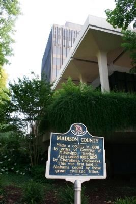 Madison County Marker next to the Madison County Courthouse image. Click for full size.