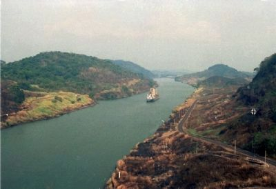 South Bound View of the Panama Canal at Gaillard Cut viewed from Contractor Hill Photo, Click for full size