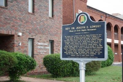 Rev. Dr. Joseph E. Lowery Boyhood Home Site Marker in Front of Cumberland Presbyterian Church image. Click for full size.