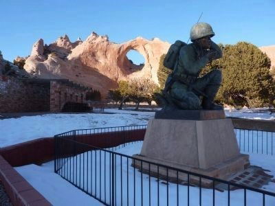 Navajo Code Talker Memorial Statue image. Click for full size.