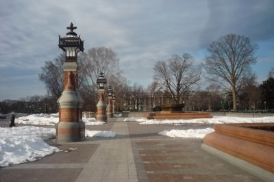 Granite Lamp Piers and Bronze Fountains Photo, Click for full size