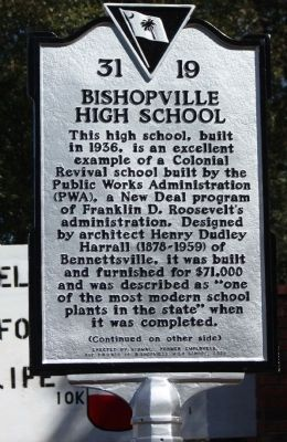 Bishopville High School Marker image. Click for full size.