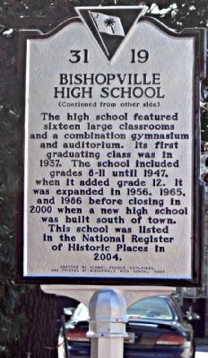 Bishopville High School Marker, reverse side image. Click for full size.