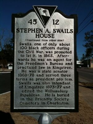 Stephen A. Swails House Marker (reverse) image. Click for full size.