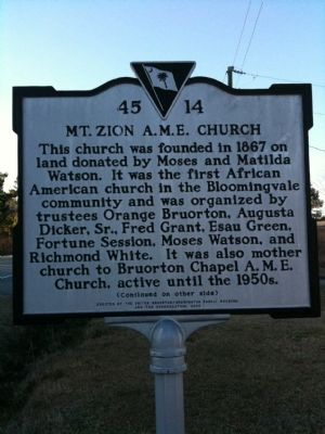 Mt. Zion A.M.E. Church Marker (front) image. Click for full size.