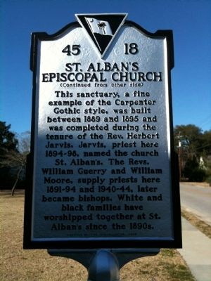 St. Alban's Episcopal Church Marker (reverse) image. Click for full size.