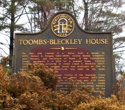 Toombs-Bleckley House Marker image. Click for full size.