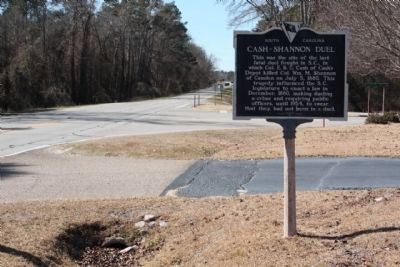 Cash-Shannon Duel Marker, looking west along Hartsville Highway (US 15, State Road 34) Photo, Click for full size