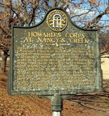 Howard's Corps at Nancy's Creek Marker image. Click for full size.