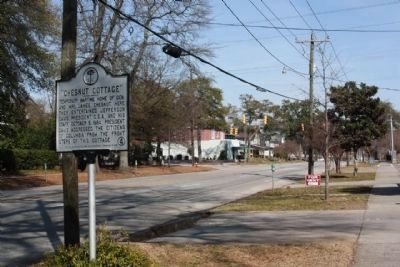 """Chesnut Cottage"" Marker, looking east along Hampton Street image. Click for full size."