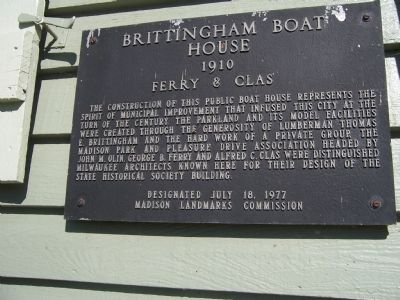 Brittingham Boat House Marker image. Click for full size.