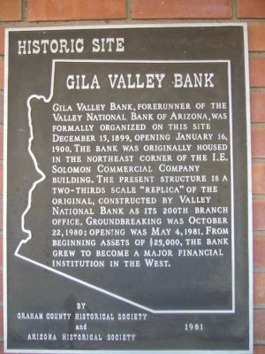 Gila Valley Bank Marker image. Click for full size.