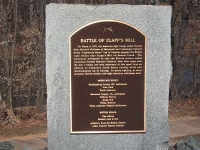 Battle of Clapp's Mill Marker image. Click for full size.