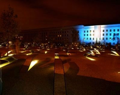 Pentagon Memorial Marker at night image. Click for full size.