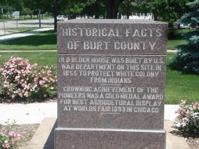 Historical Facts of Burt County Marker--South Side image. Click for full size.