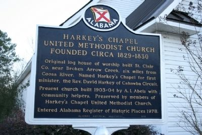 Harkey's Chapel United Methodist Church Founded Circa 1829-1830 Marker image. Click for full size.
