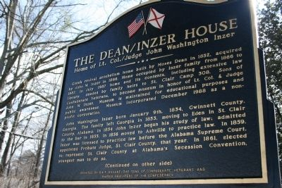 The Dean / Inzer House Marker Side A image. Click for full size.