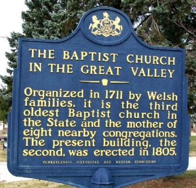 The Baptist Church in the Great Valley Marker image. Click for full size.