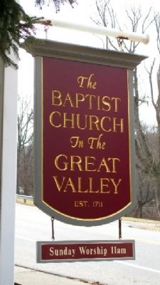 The Baptist Church in the Great Valley Sign image. Click for full size.