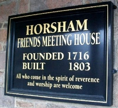 Horsham Meeting House Sign image. Click for full size.