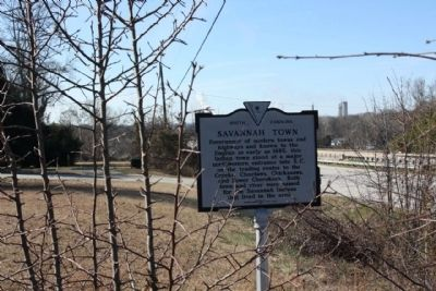Savannah Town / Fort Moore Marker looking westward along Sandbar Ferry Road (State Road 28) image. Click for full size.