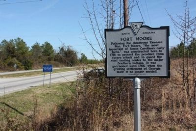 Savannah Town / Fort Moore Marker, looking east image. Click for full size.