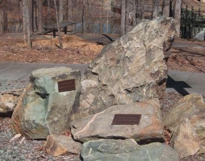 Stones from the Old Dam and Cornerstone from Clapp's Mill Photo, Click for full size