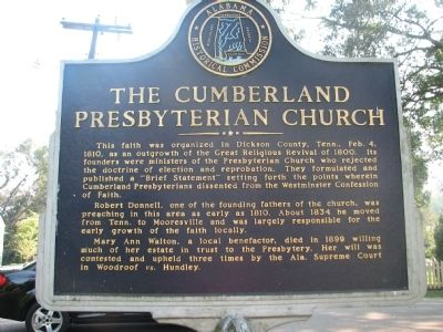 The Cumberland Presbyterian Church Marker (side 2) image. Click for full size.