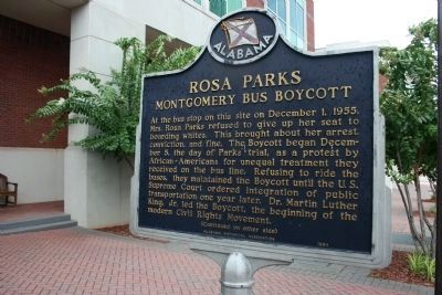 Rosa Parks Montgomery Bus Boycott Marker - Side A image. Click for full size.