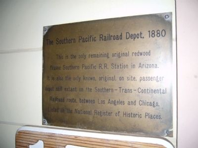 The Southern Pacific Railroad Depot, 1880 Marker image. Click for full size.
