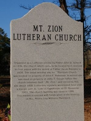 Mt. Zion Lutheran Church Marker image. Click for full size.