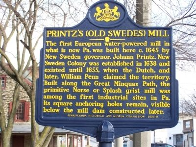 Printz's (Old Swedes) Mill Marker image. Click for full size.