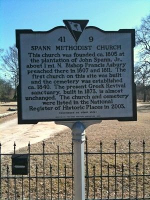 Spann Methodist Church / Captain Clinton Ward Marker (front) image. Click for full size.