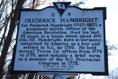 Frederick Hambright Marker image. Click for full size.
